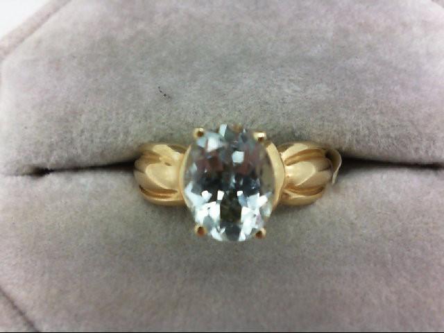 Aquamarine Lady's Stone Ring 10K Yellow Gold 2.9g