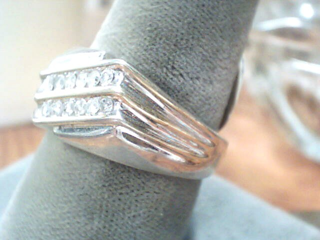 Gent's Silver-Diamond Ring 14 Diamonds .14 Carat T.W. 925 Silver 3.6dwt