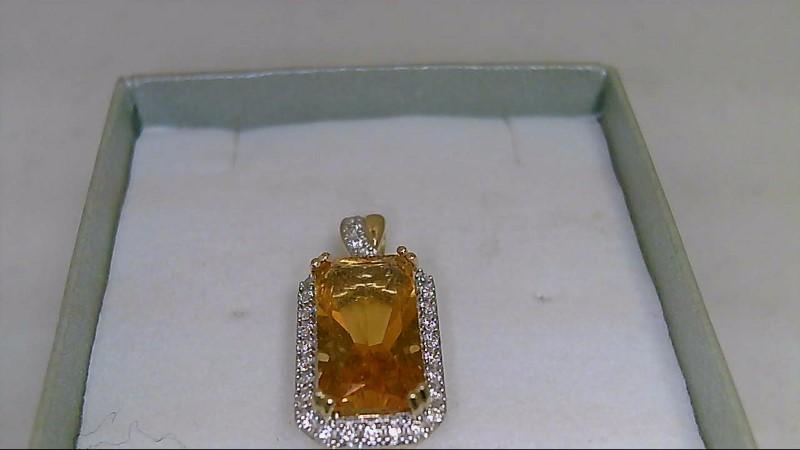 LADY'S 14K YELLOW GOLD EMERALD CUT CITRINE AND ROUND DIAMOND PENDANT