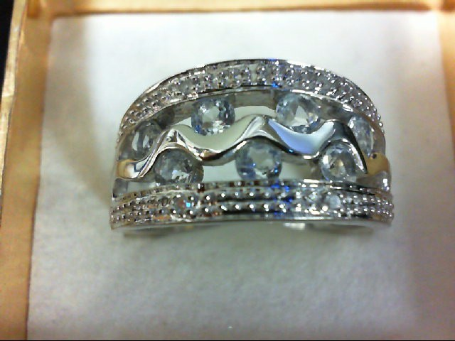 Aquamarine Lady's Stone & Diamond Ring 4 Diamonds 0.04 Carat T.W. 14K White Gold