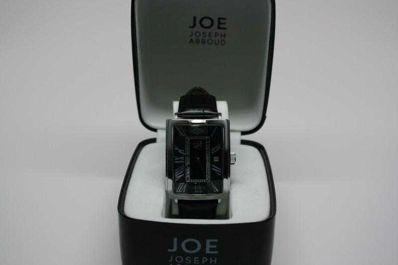WATCH JEWELRY JOSEPH ABBOUD 7028; GTS W/LTHR BAND BLK FACE IN CS, GTS LARGE DIAL