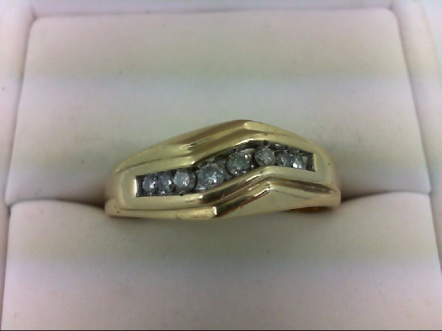 Gent's Gold-Diamond Wedding Band 8 Diamonds 0.24 Carat T.W. 14K Yellow Gold 4.2g
