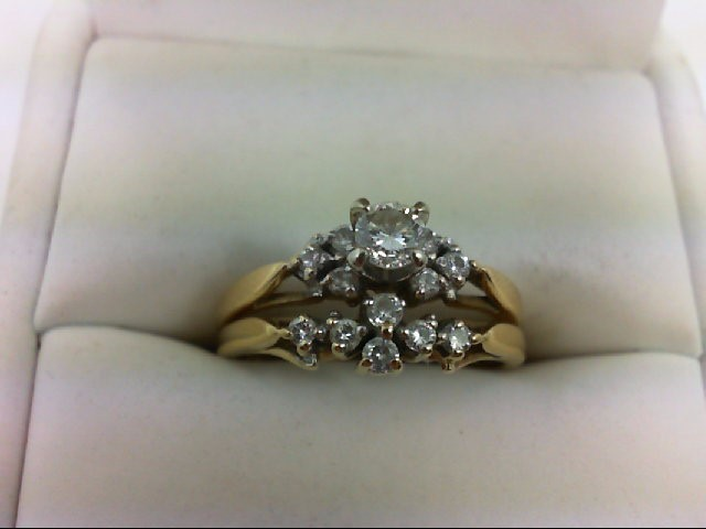 Lady's Diamond Wedding Set 13 Diamonds 0.44 Carat T.W. 14K Yellow Gold 4.1g Size