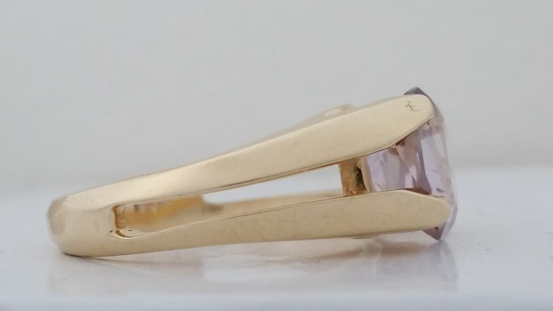 Synthetic Morganite Ring set in 14K Yellow Gold Size: 6
