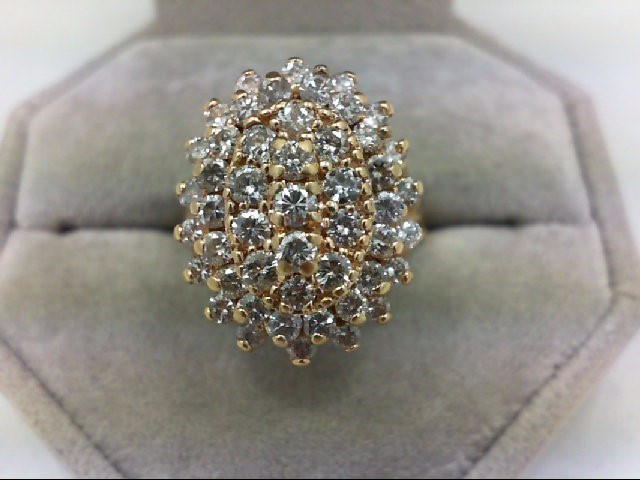 Lady's Diamond Cluster Ring 49 Diamonds 1.61 Carat T.W. 14K Yellow Gold 9g Size: