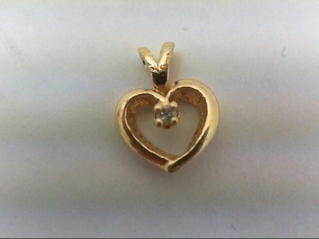 Gold-Diamond Solitaire Pendant .02 CT. 14K Yellow Gold 0.7g