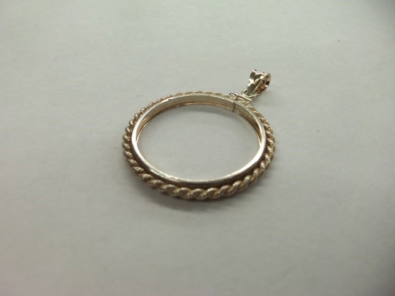 """STERLING COIN BEZEL W  BAIL 925 (1"""" OR 26.5MM)"""