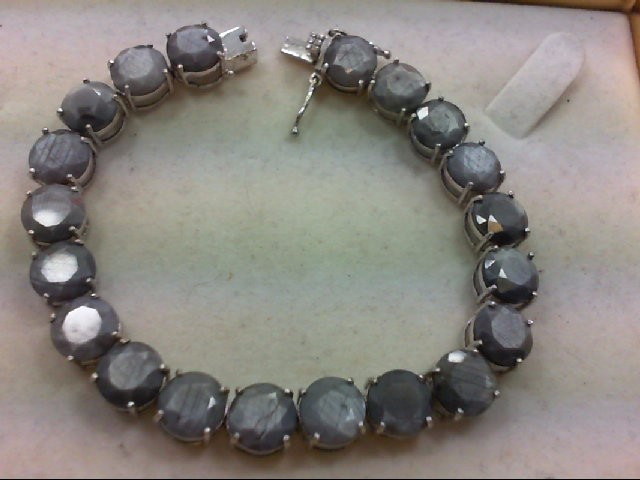 Gray Stone Silver-Stone Bracelet 925 Silver 27.3g