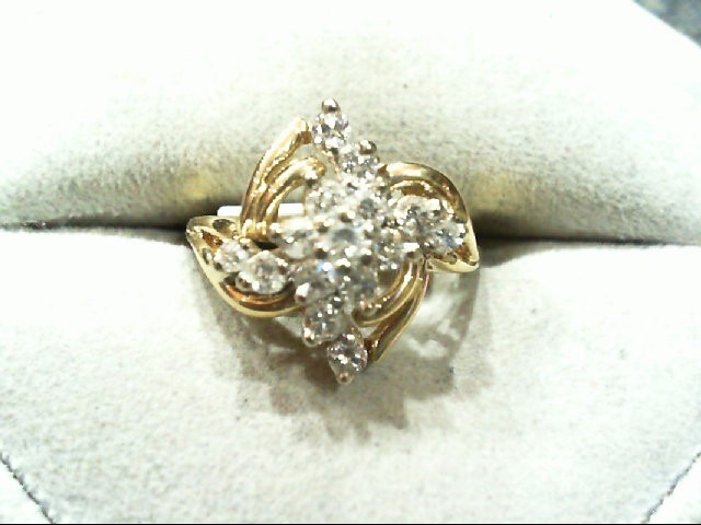 Lady's Diamond Cluster Ring 15 Diamonds .52 Carat T.W. 14K Yellow Gold 3.4g