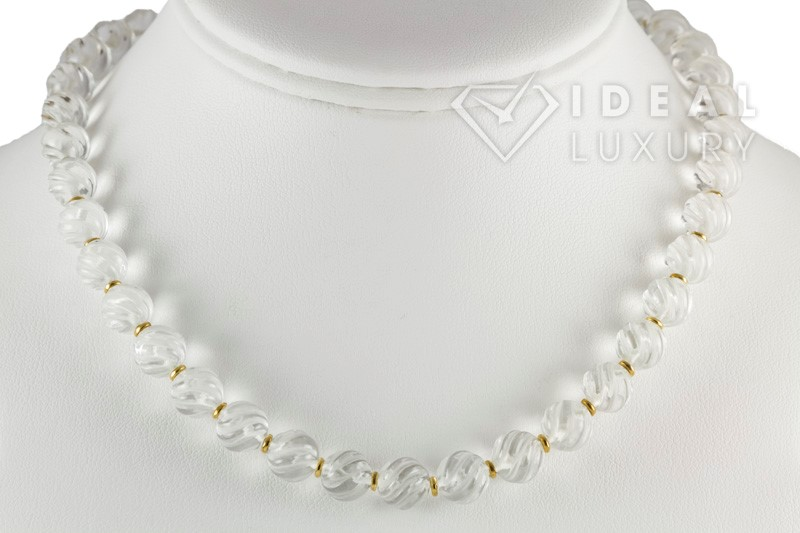 Ladies Boucheron 18k Yellow Gold and Beaded Rock Crystal Necklace