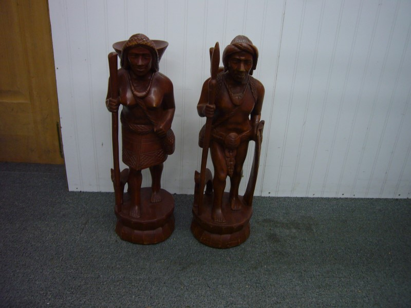 HAND CARVED NATIVE MAN & WOMAN STATUES