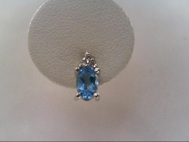 Blue Topaz Gold-Diamond & Stone Earrings 6 Diamonds .030 Carat T.W.