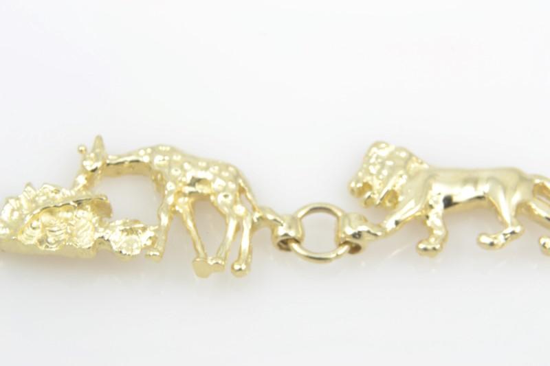 "NOAH ARK LINK BRACELET 14K YELLOW GOLD ANIMAL BIBLE CHILD BABY 7"""