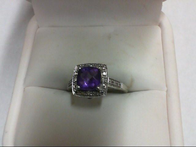 Amethyst Lady's Stone & Diamond Ring 6 Diamonds 0.06 Carat T.W. 10K White Gold 2