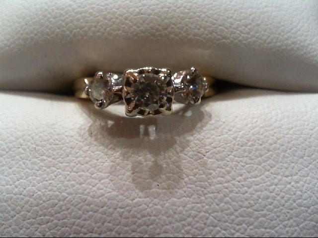 Lady's Diamond Engagement Ring 3 Diamonds .42 Carat T.W. 14K 2 Tone Gold 2.5g