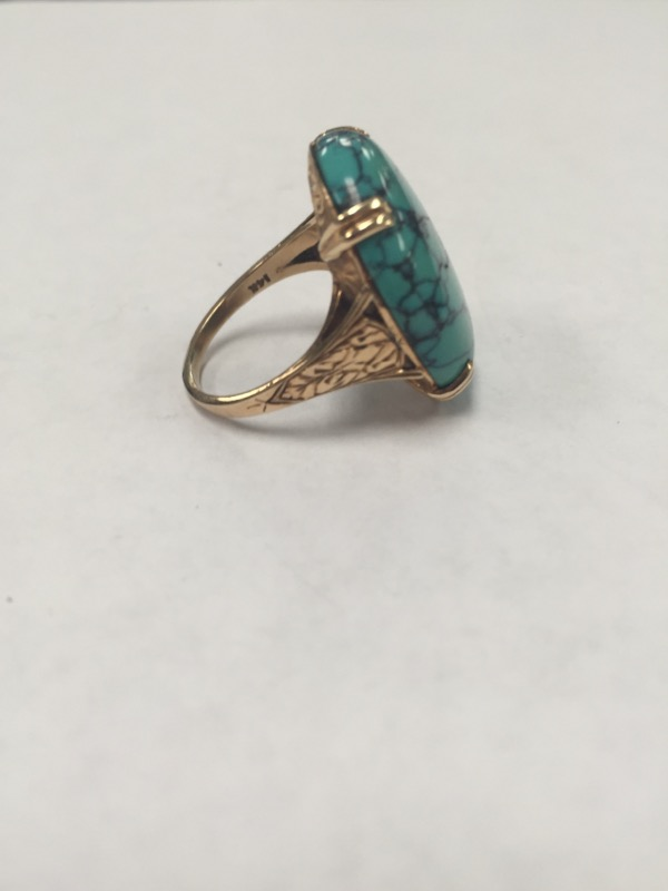 Turquoise Lady's Stone Ring 14K Yellow Gold 10.3g Size:7