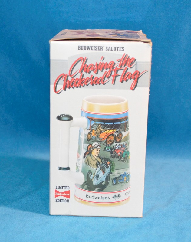 BUDWEISER CHASING THE CHECKERED FLAG BEER STEIN