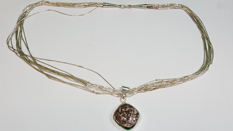 Brown Stone Strand Necklace 925 Silver 76.7g
