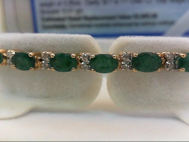 Emerald Gold-Stone Bracelet 14K Yellow Gold 10.51g