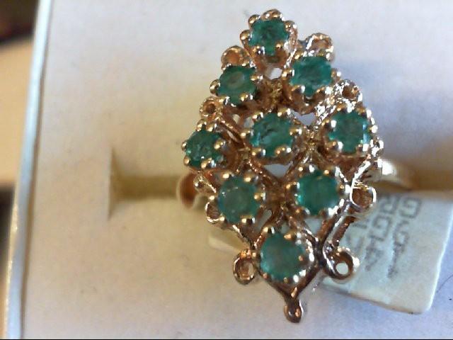 Emerald Lady's Stone Ring 14K Yellow Gold 4.6g