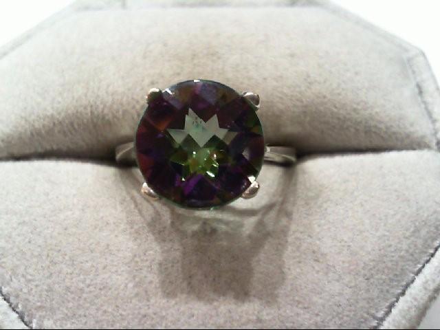 Mystic Blue Topaz Lady's Stone Ring 14K White Gold 4.3g