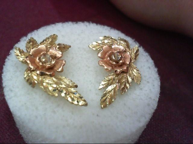 Gold Earrings 10K Tri-color Gold 2.4g