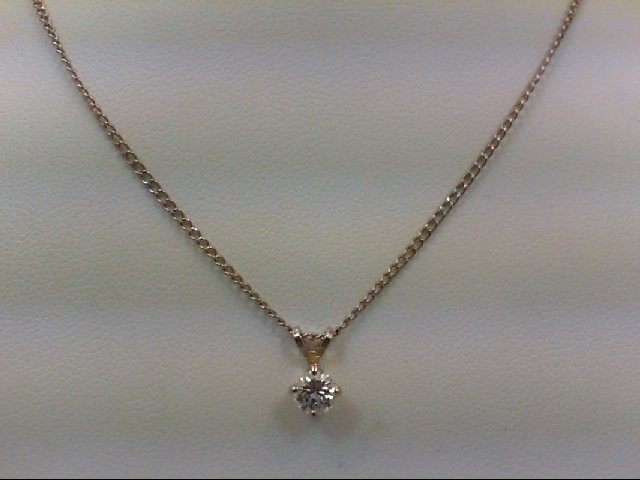 Gold-Diamond Solitaire Pendant 0.35 CT. 14K White Gold 2.8g