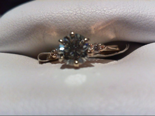 Lady's Diamond Engagement Ring 3 Diamonds .71 Carat T.W. 14K Yellow Gold 1.8g