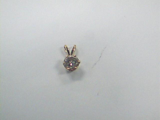 Gold-Diamond Solitaire Pendant .86 CT. 14K Yellow Gold 0.6dwt