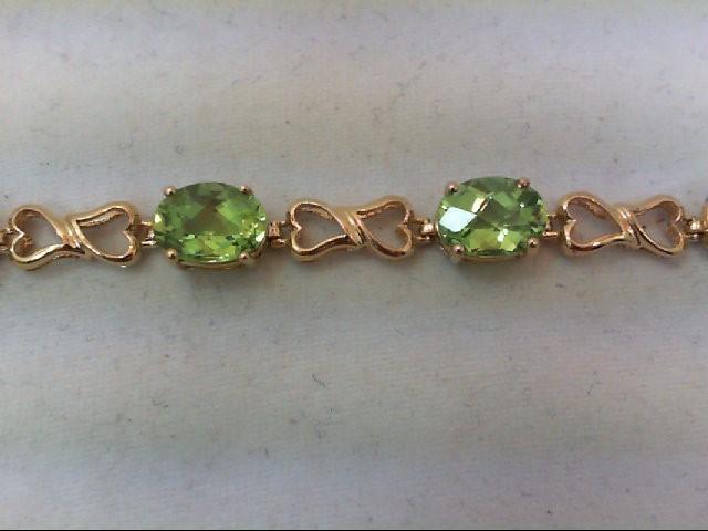 Peridot Gold-Stone Bracelet 10K Yellow Gold 8.4g