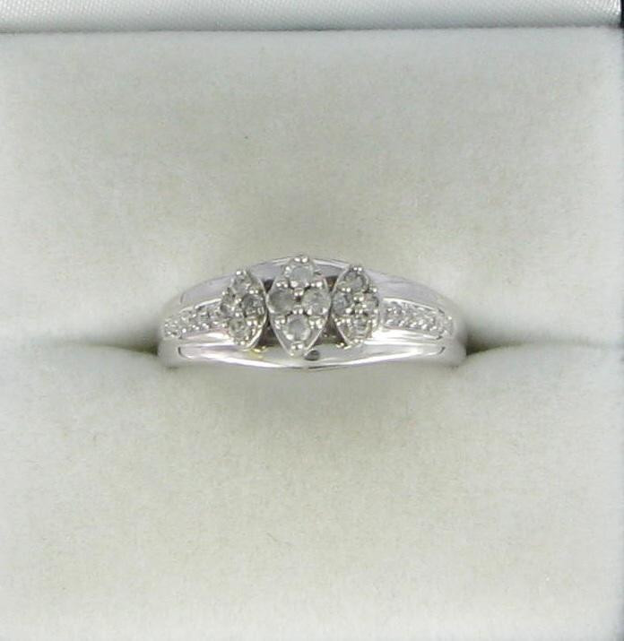 Lady's Diamond Engagement Ring 12 Diamonds .088 Carat T.W. 10K White Gold
