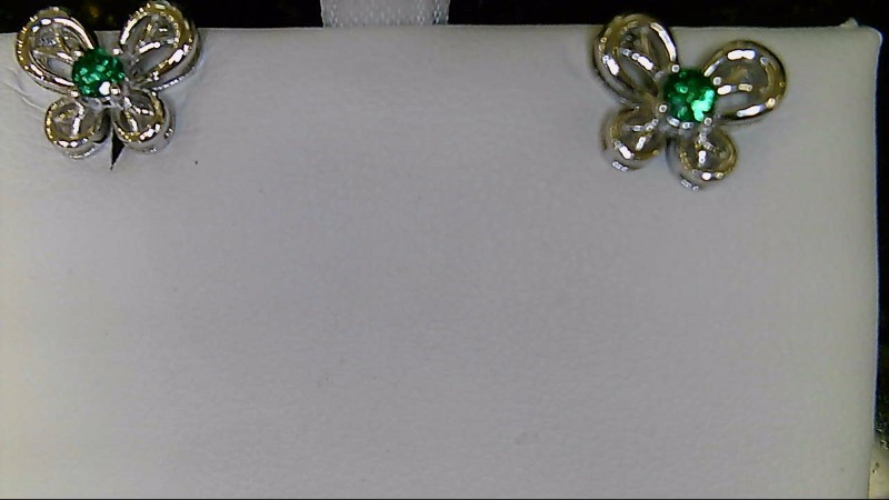 NEW SS BUTTERFLY MAY BIRTHSTONE EARRING
