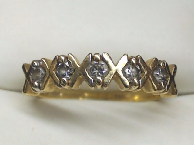 Synthetic Cubic Zirconia Lady's Stone Ring 10K Yellow Gold 2.2g Size:6.5