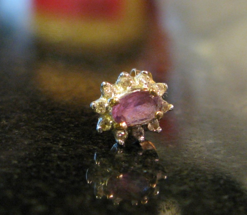 Single Amethyst Gold-Diamond & Stone Earring 10 Diamonds .10 Carat T.W.
