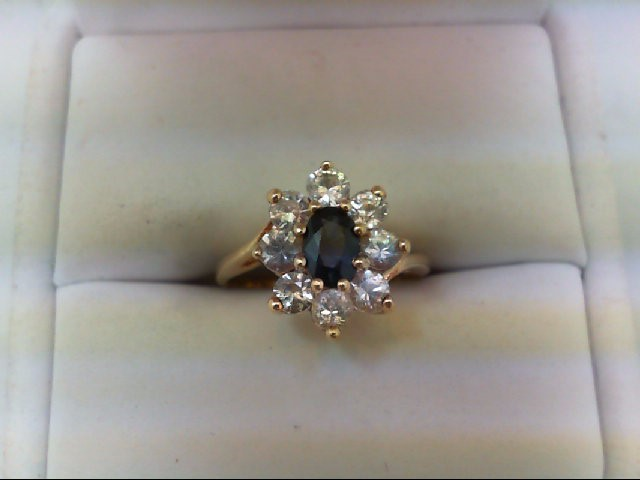 Synthetic White Stone Lady's Stone Ring 14K Yellow Gold 2.8g Size:5.75
