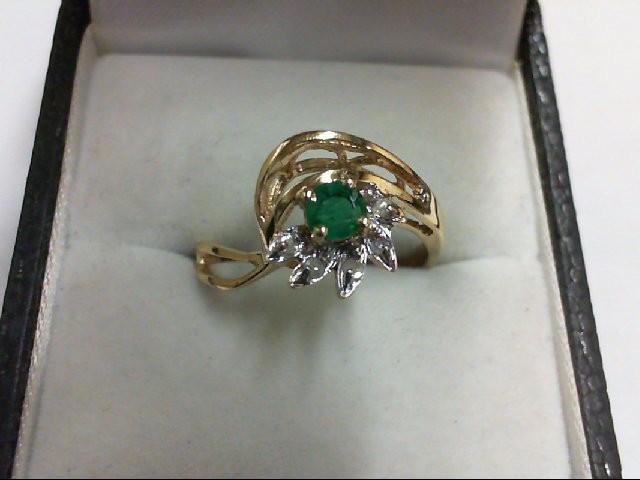 Emerald Lady's Stone & Diamond Ring 5 Diamonds 0.05 Carat T.W. 10K Yellow Gold 2