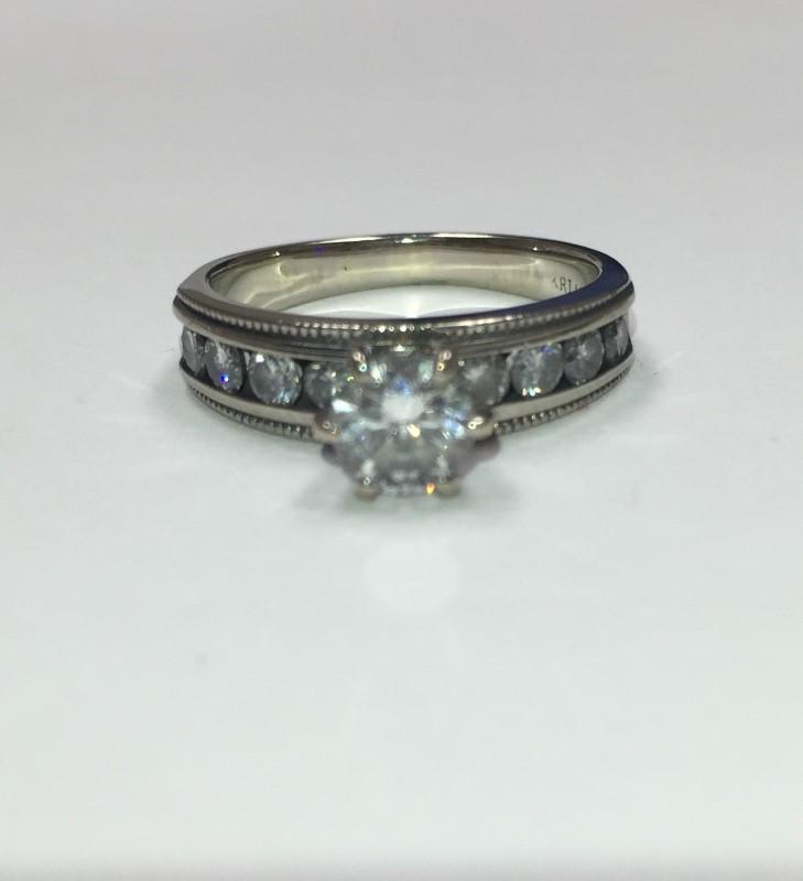 Lady's Diamond Engagement Ring 9 Diamonds .95 Carat T.W. 14K White Gold 2.54dwt