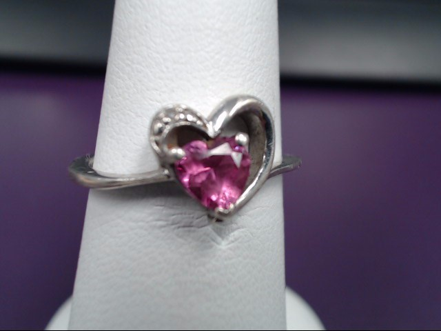Pink Stone Lady's Silver & Stone Ring 925 Silver 2.2g