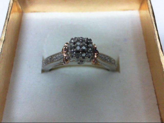 Lady's Silver-Diamond Ring 20 Diamonds 0.2 Carat T.W. 925 Silver 3g