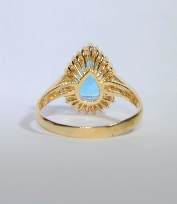 14K Yellow Gold Split Shank Large Pear Blue Topaz & Diamond Cocktail Ring sz 9