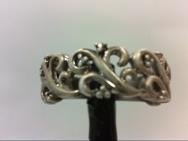 Lady's Silver-Diamond Ring 9 Diamonds 0.09 Carat T.W. 925 Silver 5.5g Size:7.5