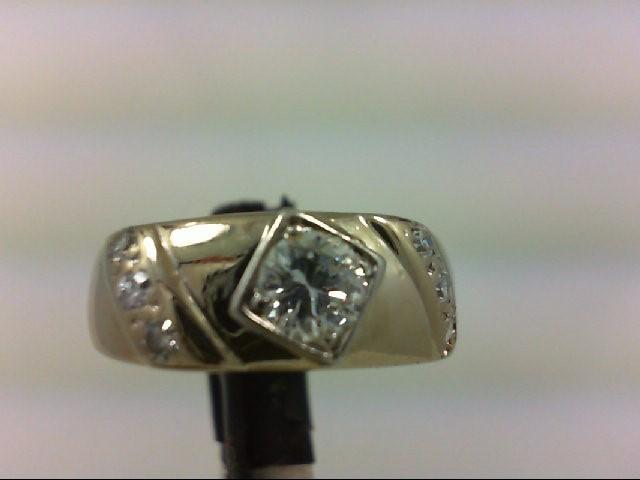 Lady's Diamond Wedding Band 7 Diamonds 0.74 Carat T.W. 14K White Gold 5.58g Size