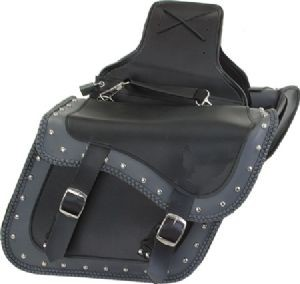 DEALER LEATHER SD4059-PV; PV SLANT STYLE SADDLEBAGS GRAY AND BLACK WITH BRAID TR