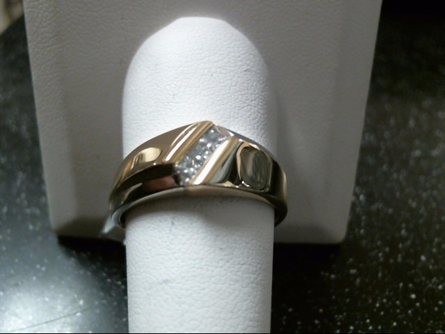 Gent's Diamond Fashion Ring 3 Diamonds .30 Carat T.W. 14K 2 Tone Gold 7.8g