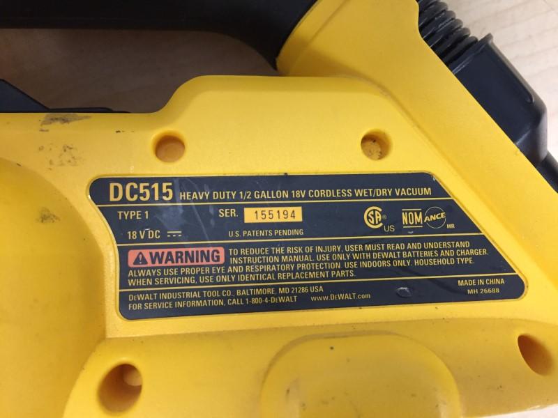 Dewalt Vacuum Cleaner Dc515 1 2 Gallon 18v Cordless Good