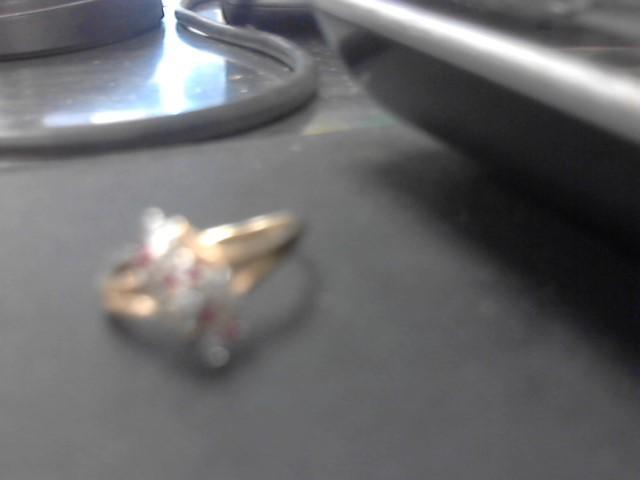 Ruby Lady's Stone & Diamond Ring 10 Diamonds .30 Carat T.W. 14K Yellow Gold
