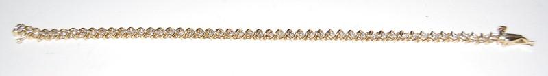 Gold-Diamond Bracelet 53 Diamonds .53 Carat T.W. 14K Yellow Gold 7.6g
