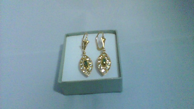 Synthetic Cubic Zirconia Gold-Stone Earrings 14K Yellow Gold 5.4g