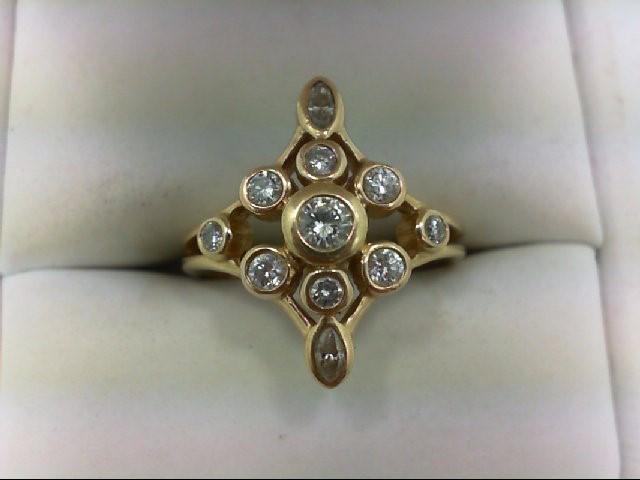 Lady's Diamond Cluster Ring 11 Diamonds 0.9 Carat T.W. 14K Yellow Gold 5.4g Size