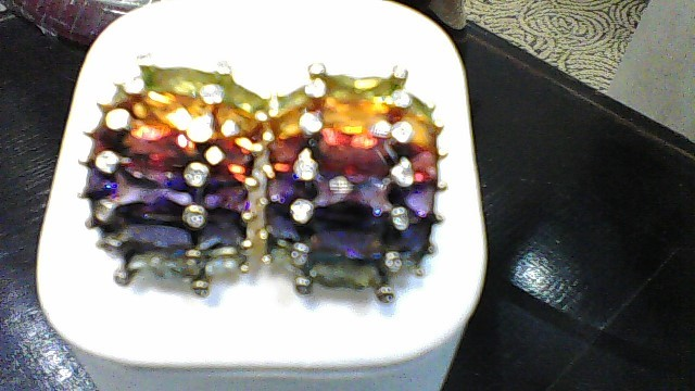 lady's 18k yellow gold asstorted gemstone earrings